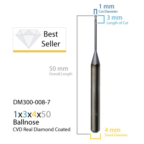 1.0mm Roland CVD Real Diamond Coated CAD CAM Milling Bur