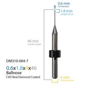 0.6mm Origin & Haas / Yenadent CVD Real Diamond Coated CAD CAM Milling Bur