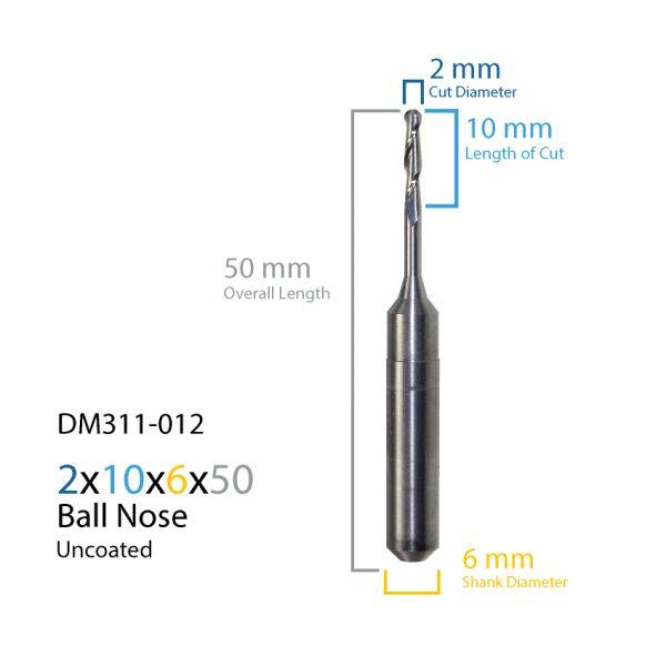 2mm ZirkonZahn Uncoated CAD CAM Milling Bur