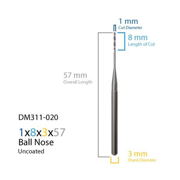 1.0mm ZirkonZahn Uncoated CAD CAM Milling Bur