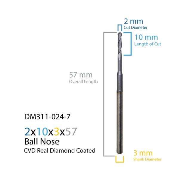 2.0mm ZirkonZahn CVD Real Diamond Coated CAD CAM Milling Bur