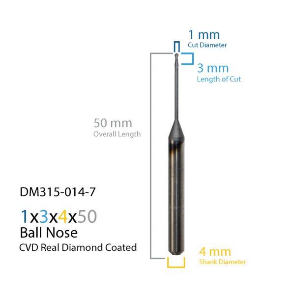 1mm ARUM Axsys VersaMill CVD Real Diamond Coated CAD CAM Milling Bur